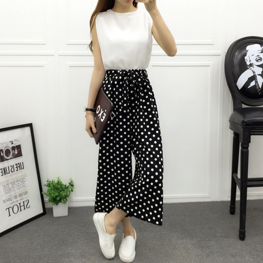 Dots B&W High Waisted Palazzo Pants