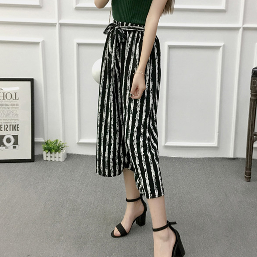Draw Striped Loose Palazzo Pants