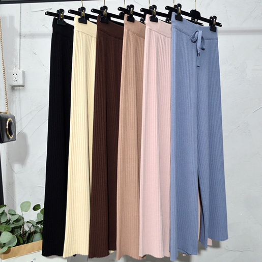 Elastic Winter Knitted Palazzo Pants
