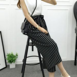 Striped B&W High Waisted Palazzo Pants