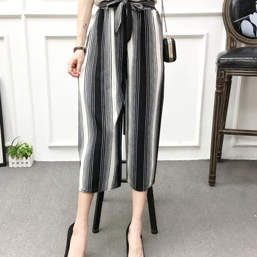 Two Colors Striped Loose Palazzo Pants