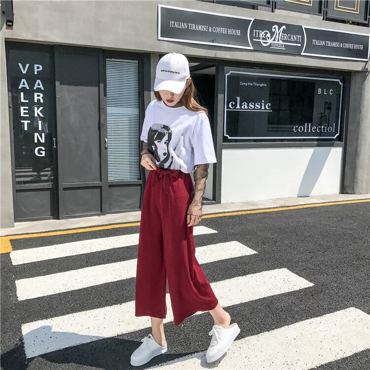 2019 Women Casual Loose Wide Leg Pant Womens Elegant Fashion Preppy Style Trousers Female Pure Color Females New Palazzo Pants