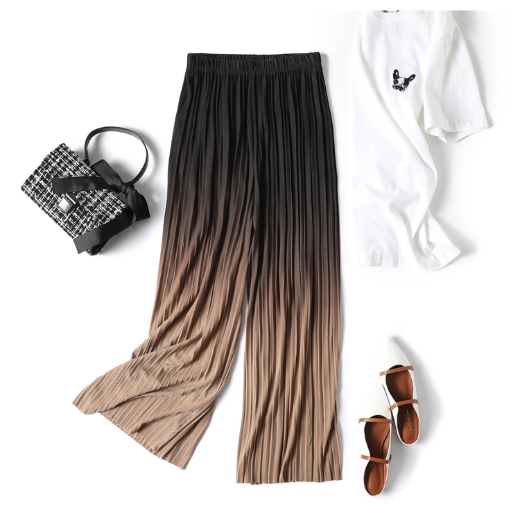 Female Summer Ice Silk Gradient Color Wide Leg Pants Pleated Nine Points Large Size High Waist Drape Skirt Straight Beach Pants