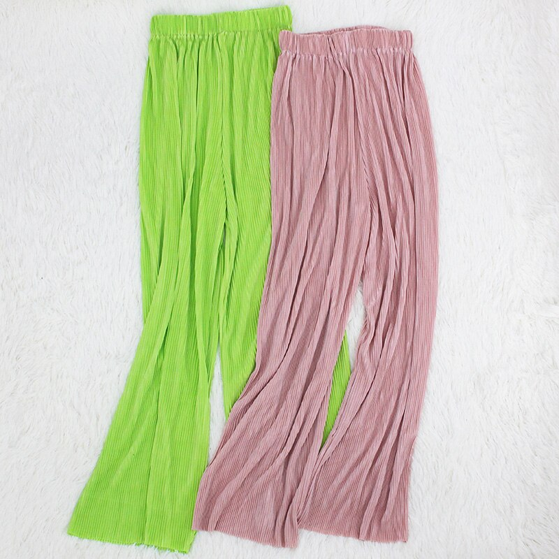 Summer Women's Pants Pleated Wide Leg Pants Loose Ankle Length Elastic Waist Casual Long Streetwear Trousers Pantalon Femme