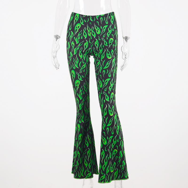 Chicology green fire print flare pants high waist bell bottom 2019 summer sexy women streetwear clothing female punk trousers